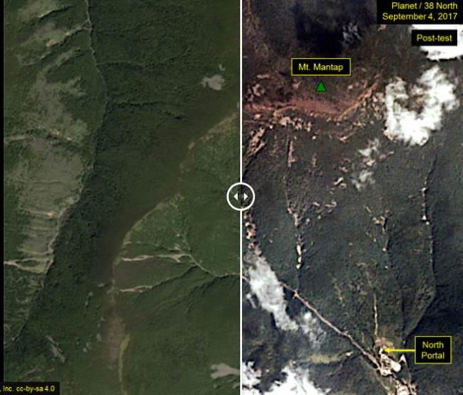 朝鲜氢弹威力惊人! 爆炸前后对照图曝光(图)